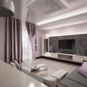 Giấy dán tường màu xám trên tường phòng khách