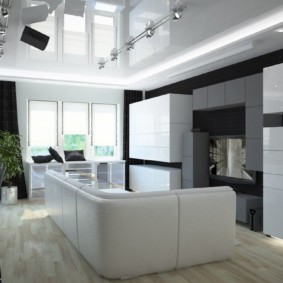 Sofa trắng trong phòng khách công nghệ cao