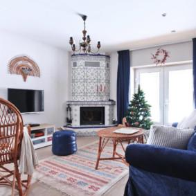 Sofa màu xanh với bọc nhung