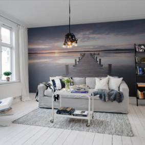 Phòng khách Scandinavia với màu sắc tươi sáng
