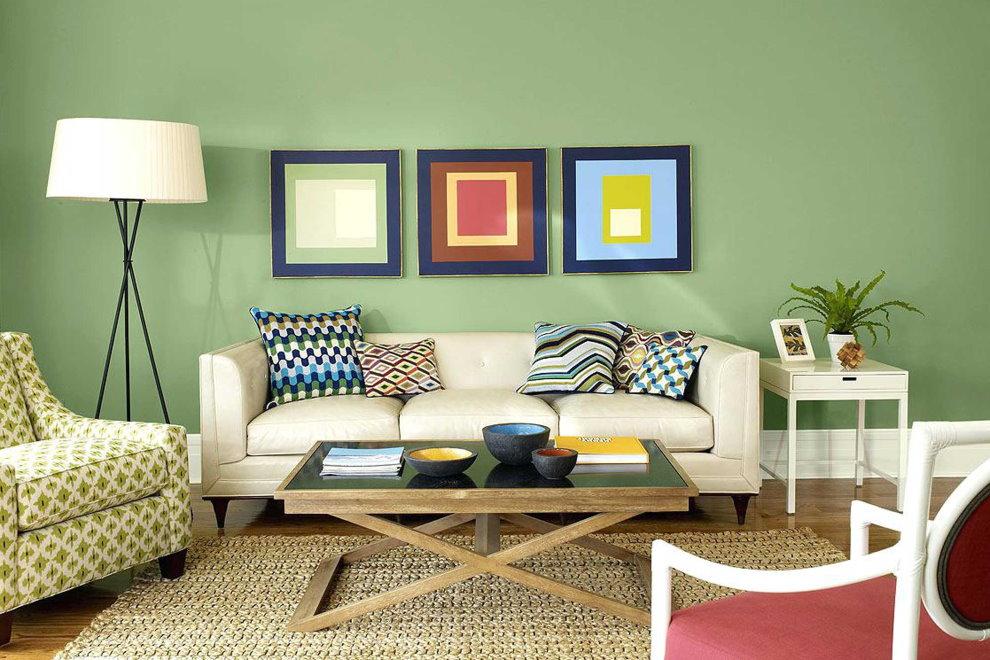 Murs verts dans le salon