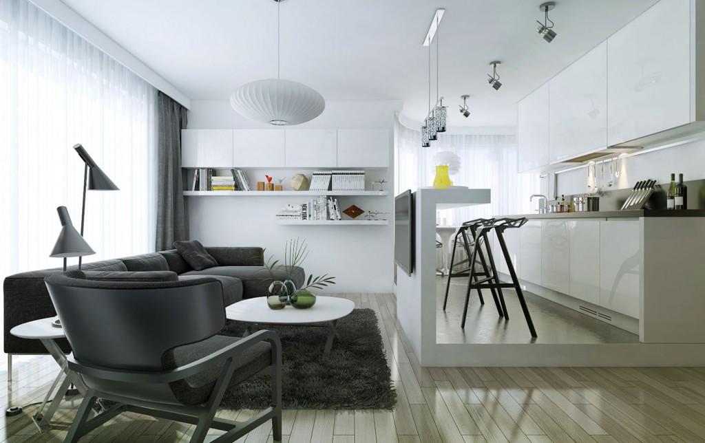 Élégant pied mince entre la cuisine et le salon