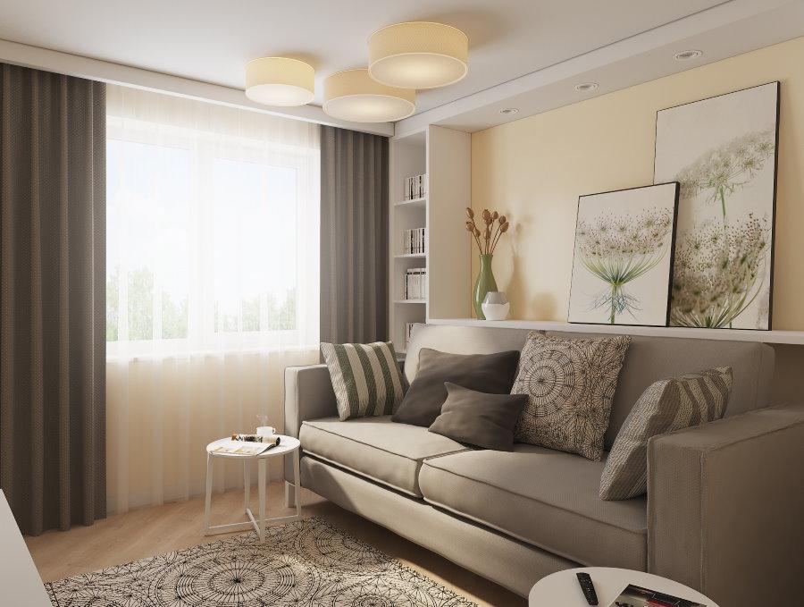 Canapé gris clair dans un salon beige