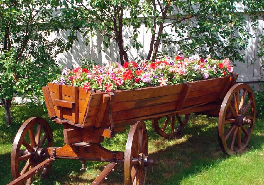 Lit wagon dans un terrain avec une clôture en bois