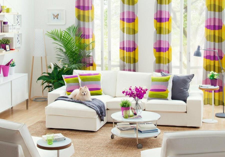 Impression couleur sur les rideaux du salon