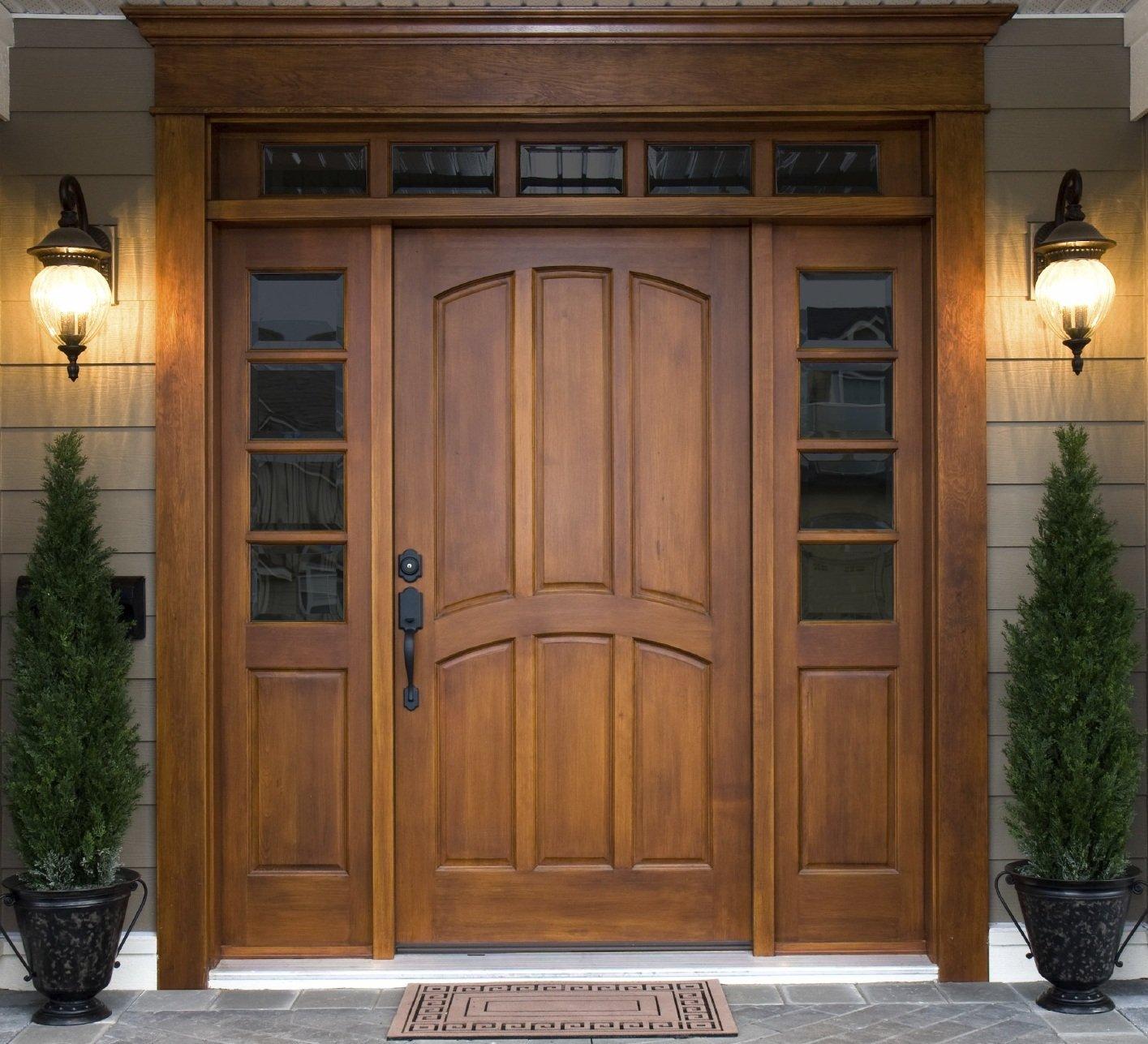 idées de photo de porte d'entrée en bois