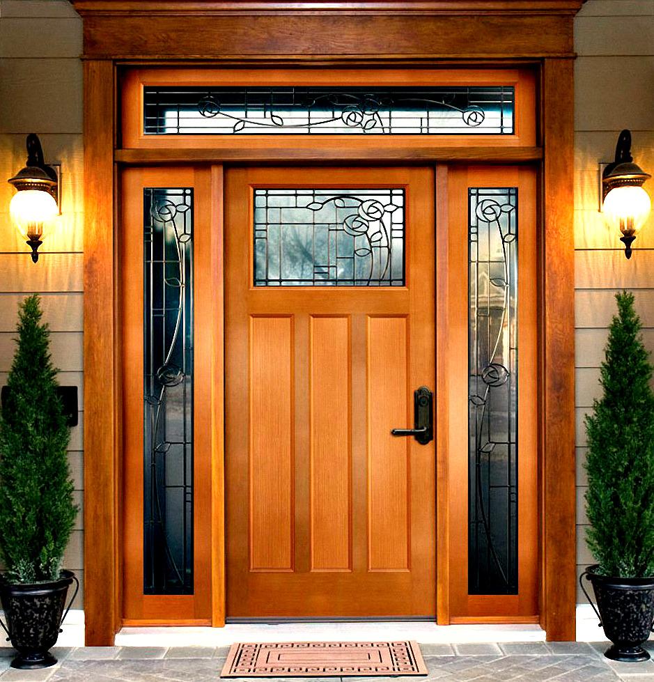 porte d'entrée en bois de hêtre