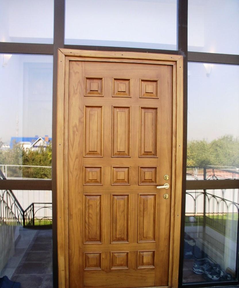 porte d'entrée en bois de chêne