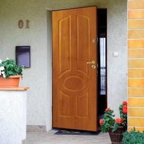 décoration photo en bois de porte d'entrée