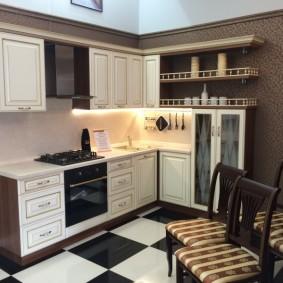 tablier pour cuisine de photo d'intérieur en mdf