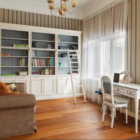 Chambre ado avec papier peint à rayures