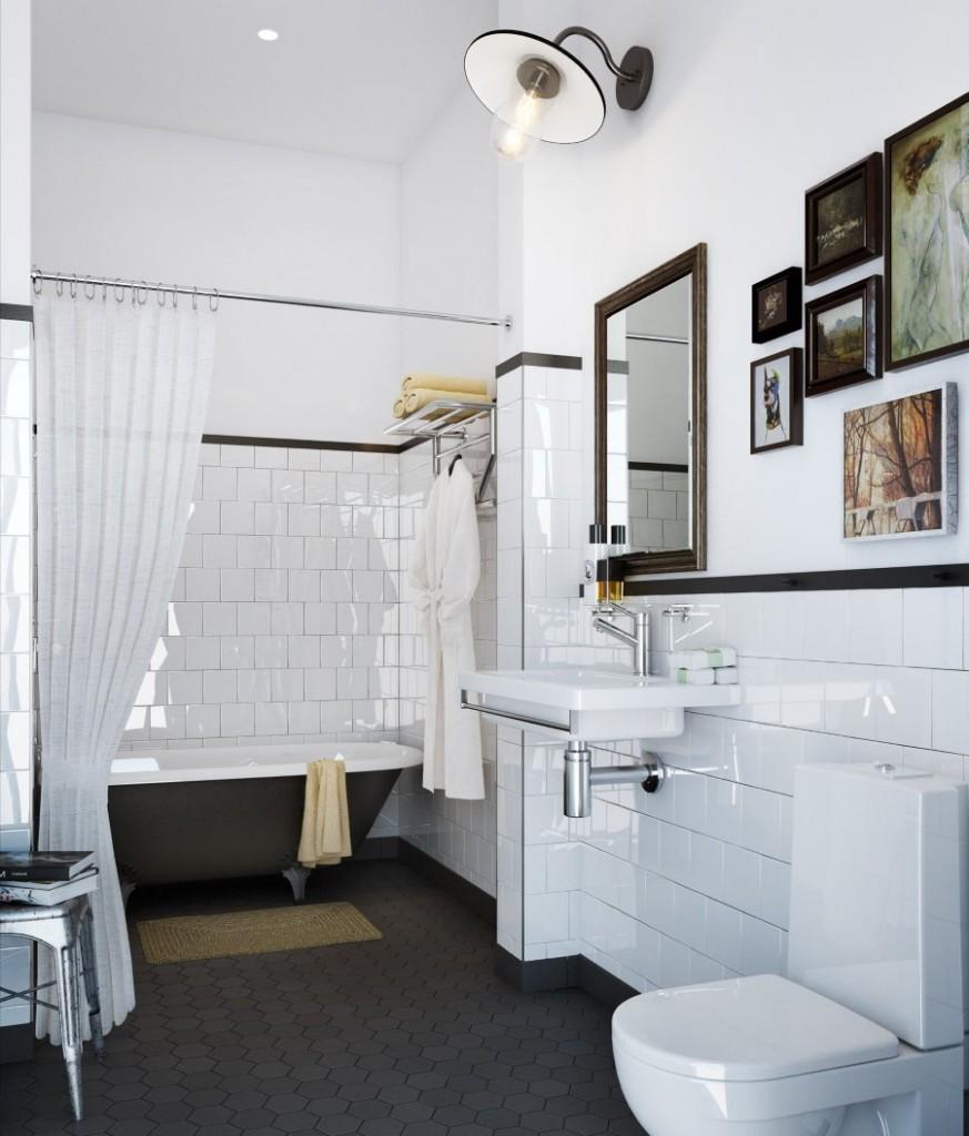 Cadres photo sur le mur de la salle de bain combinée
