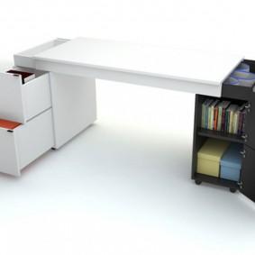 Table convertible avec tables extensibles