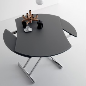 Table ronde avec plateau coulissant