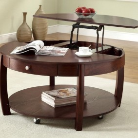 Modèle rond d'une table transformable