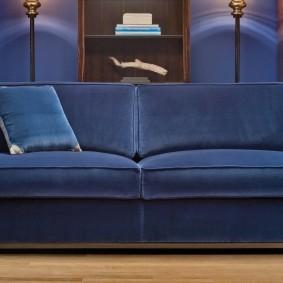 Canapé bleu avec revêtement en tissu