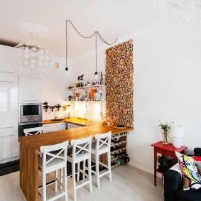 Décor scie coupe mur blanc cuisine salon