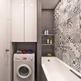 Machine à laver dans une niche de salle de bain