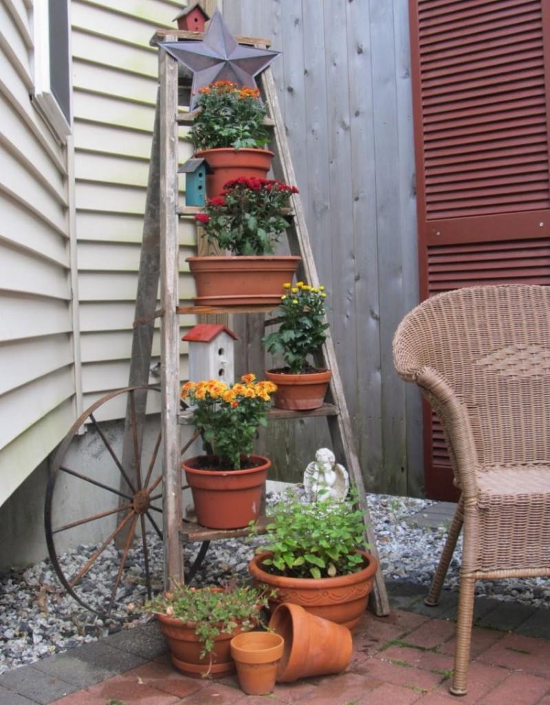 Pots de fleurs sur les marches d'un escabeau en bois