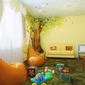 salle de jeux chambre d'enfants vue sur la photo