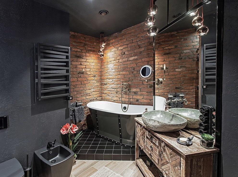 Salle de bain combinée de style loft
