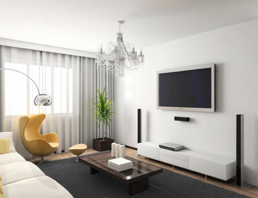 Fauteuil jaune dans un salon de style minimaliste