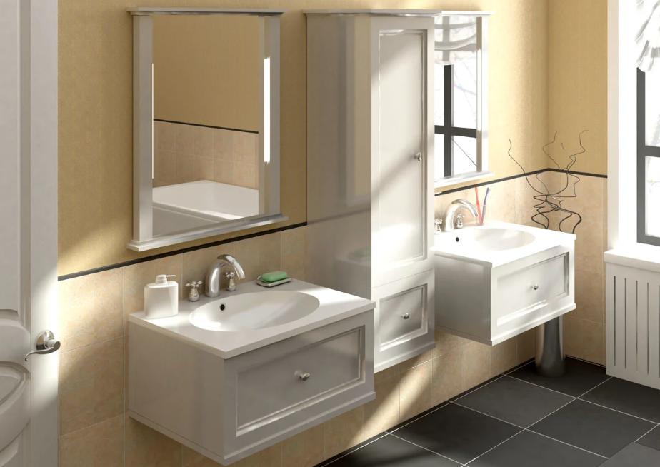 meubles à charnières dans la salle de bain