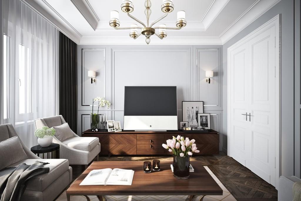 Le salon de 18 carrés dans la maison de panneaux Khrouchtchev