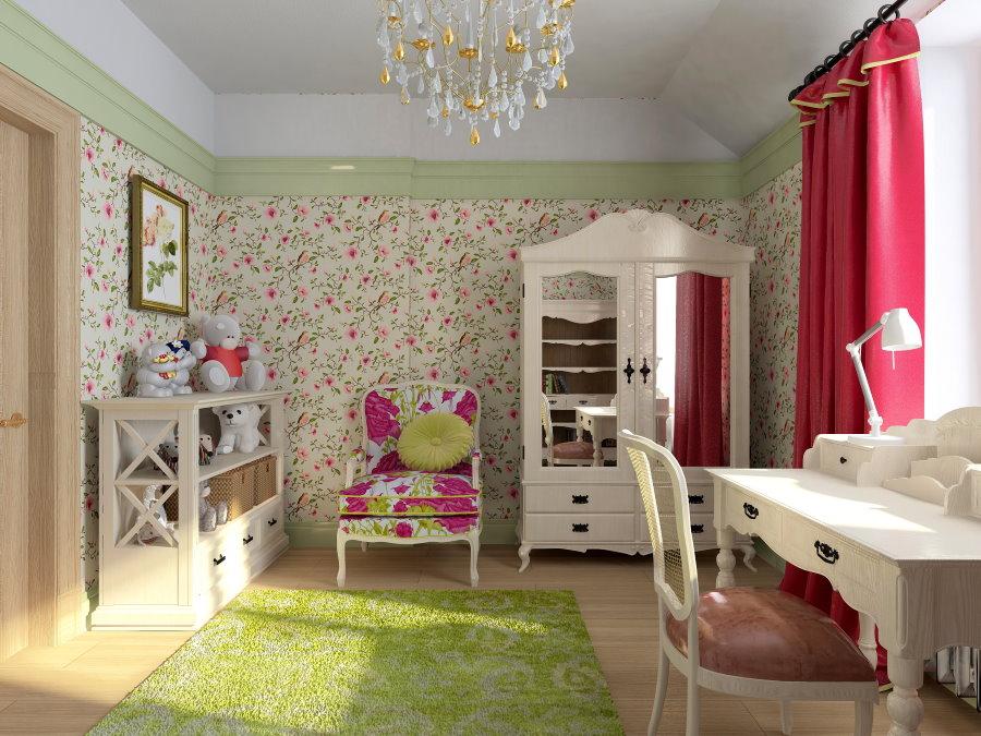 Papier peint pour la chambre d'olive de la petite fille