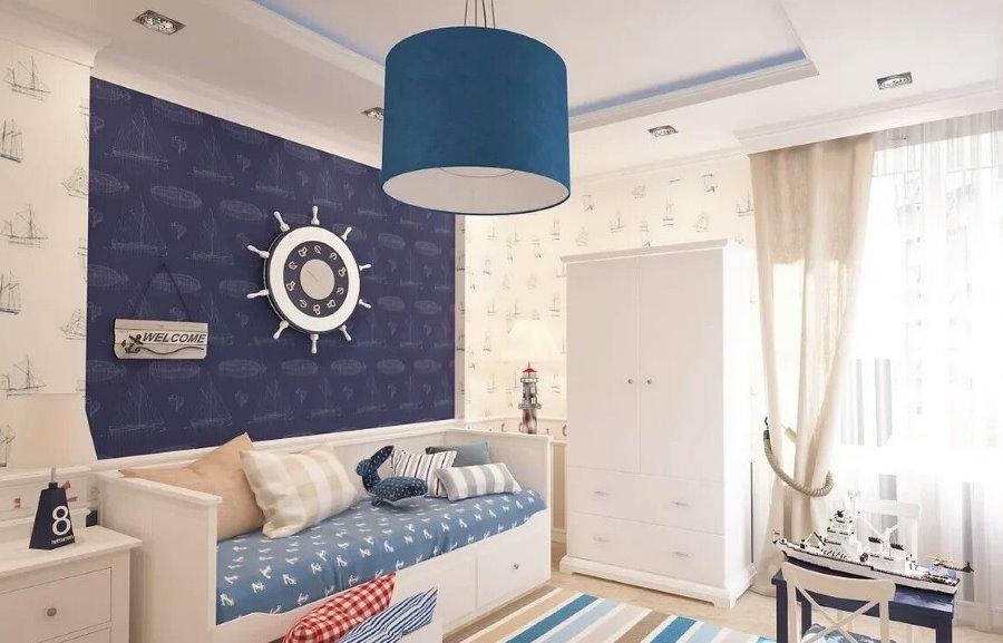 Papier peint bleu sur le canapé des enfants