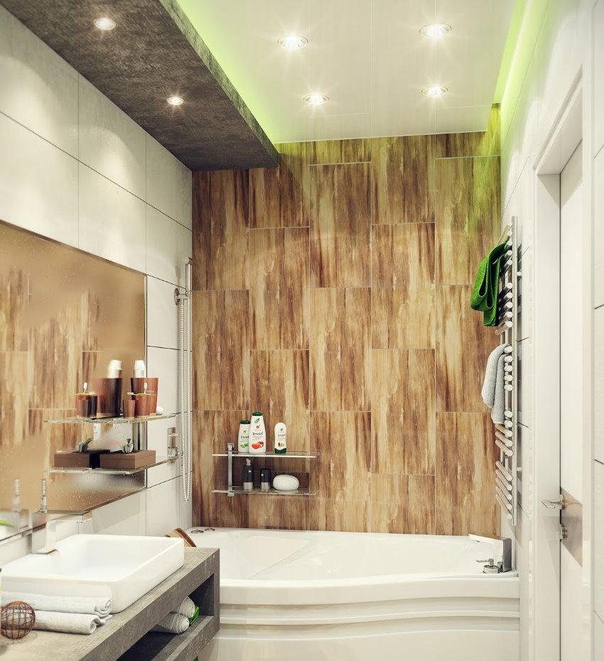 Carrelage sur le mur de la salle de bain dans un style moderne