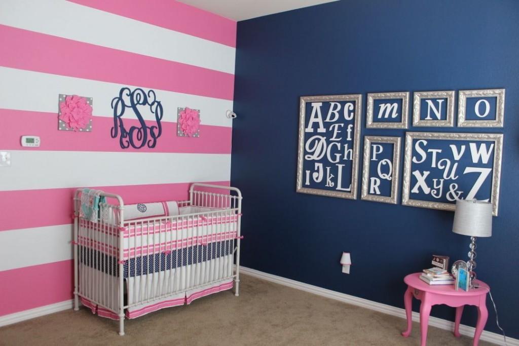 Chambre rose et bleue pour une fille