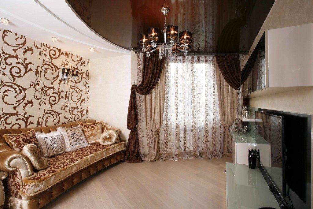 Sélection de rideaux pour papier peint dans le salon