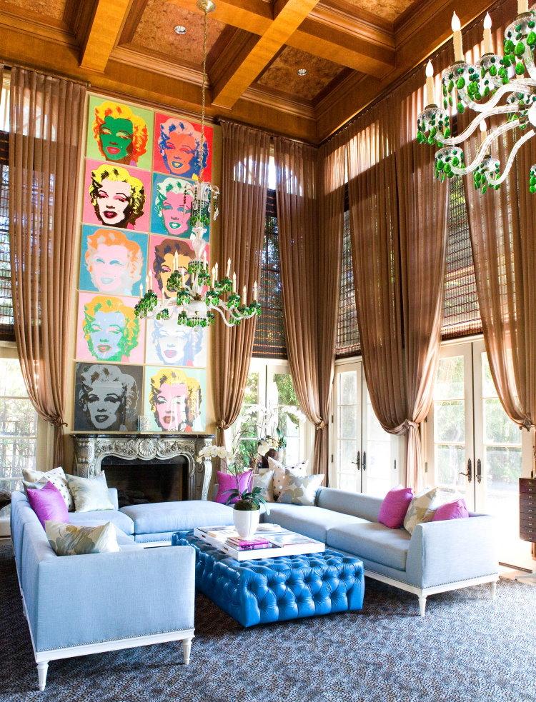 Une sélection de rideaux pour le salon dans le style du pop art