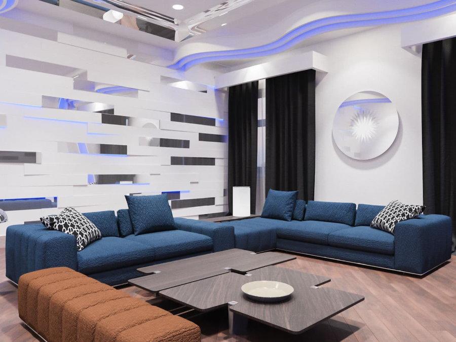 Salon high-tech avec canapés bleus