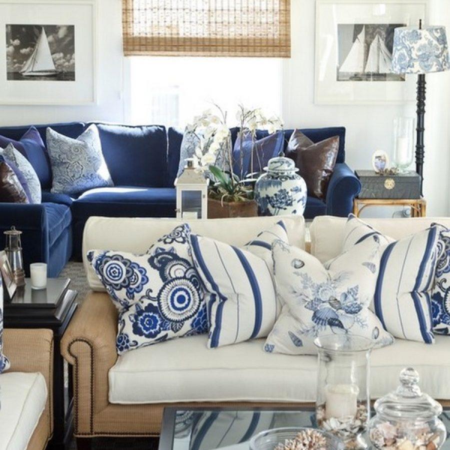 Mobilier de salon de style marin bleu et blanc