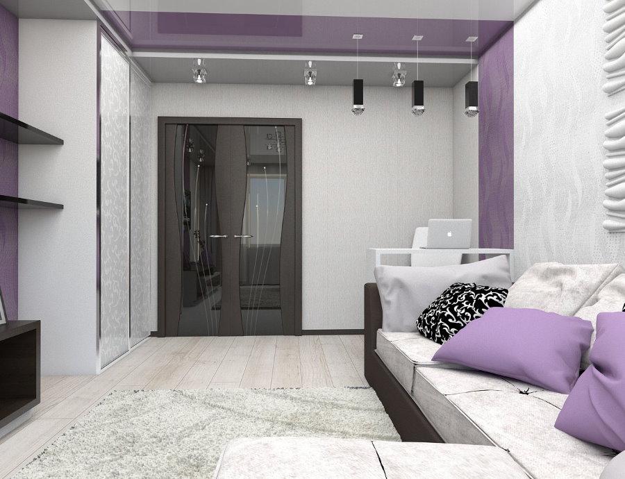 Accents lilas dans un salon moderne