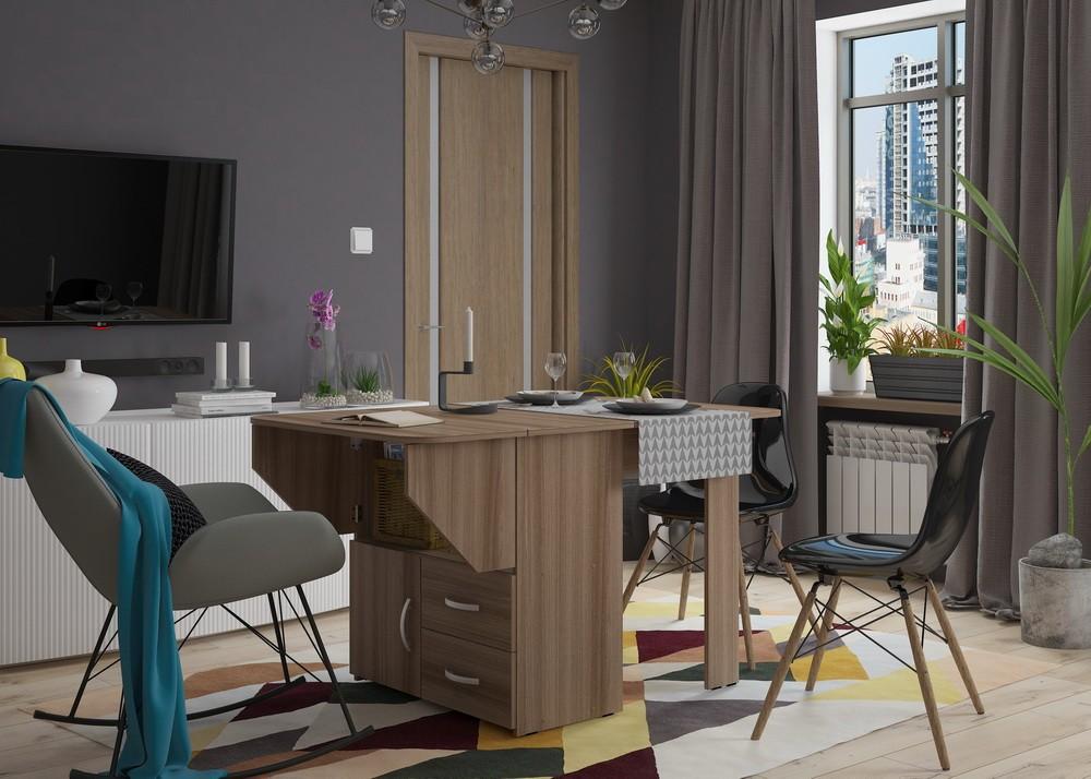 Bàn ăn trong thiết kế phòng khách trong căn hộ