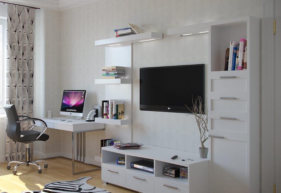 Bàn máy tính trong nội thất phòng khách