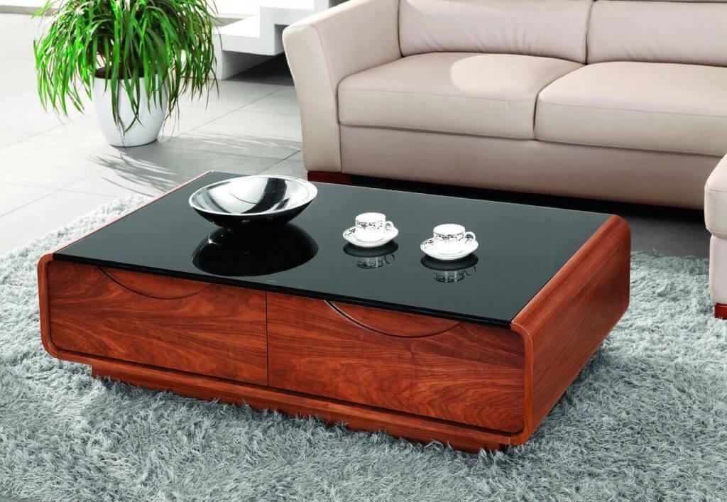 Table basse de comptoir en plastique noir