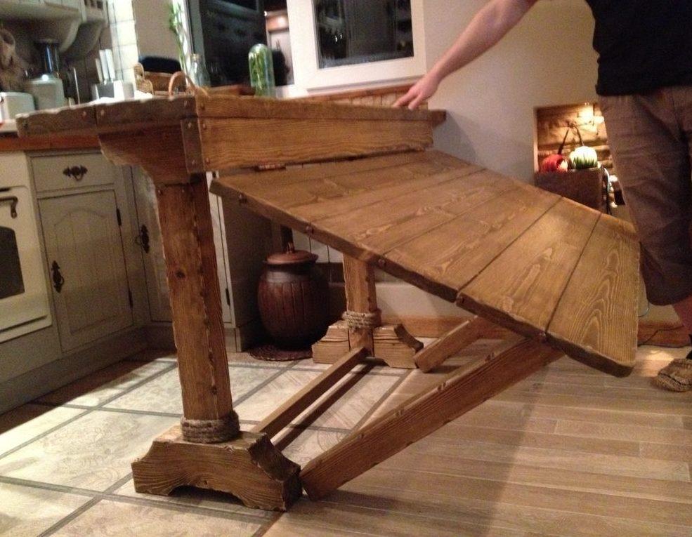 Bàn gỗ xếp cho phòng khách phong cách đồng quê