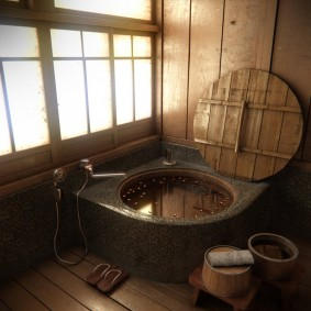 décoration photo de salle de bain de style japonais