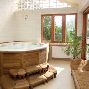 idées de photo de salle de bain de style japonais
