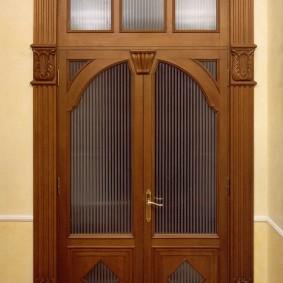 entrée photo porte en bois décoration
