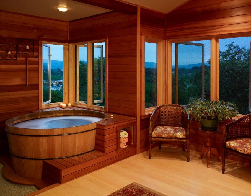 salle de bain en bois japonaise