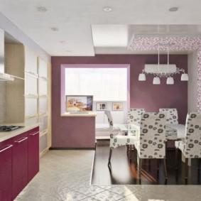 papier peint violet à l'intérieur de la cuisine