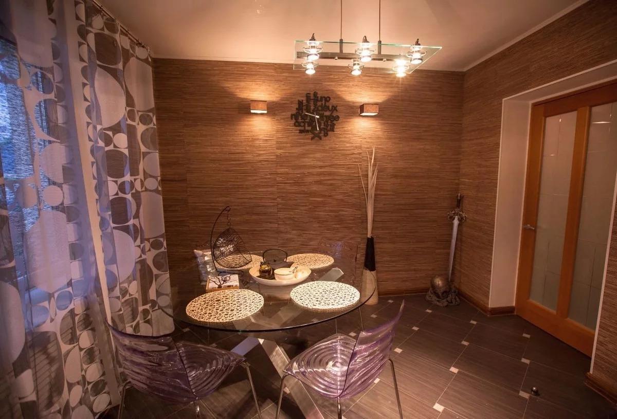 papier peint en bambou dans la cuisine