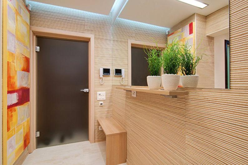 Conception de couloir avec papier peint en bambou