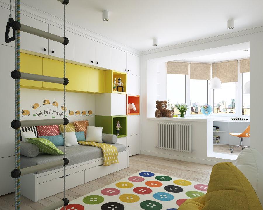 Armoires jaunes dans le mur des enfants en blanc