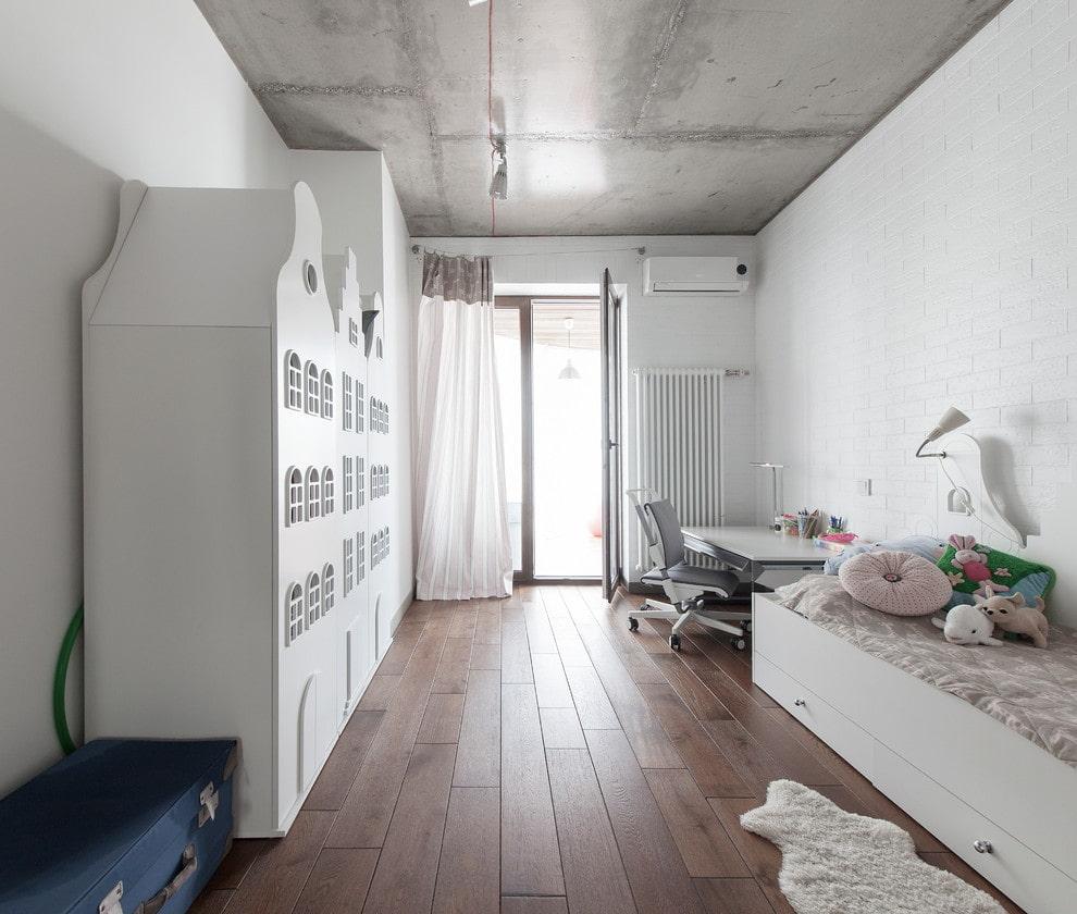 Conception de chambre d'enfants de style loft
